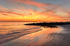 Coney Island Beach at Sunset. royalty free stock images