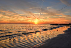 Coney Island Beach at Sunset. Stock Image