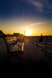 Coney Island Bench. Bench on Coney Island Boardwalk at Sunrise royalty free stock image