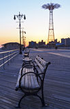 Coney Island Boardwalk  Benches Stock Photos