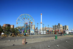 Coney Island boardwalk. BROOKLYN, NEW YORK - OCTOBER 10:  Coney Island Boardwalk before damage by Hurricane Sandy  at Coney Island, NY. The boardwalk, built in Stock Image