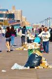 Coney island boardwalk  garbage bins new york Stock Images