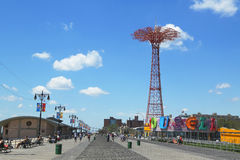 Free Coney Island Boardwalk, Parachute Jump Tower And Restored Historical B&B Carousel In Brooklyn Stock Image - 32631611