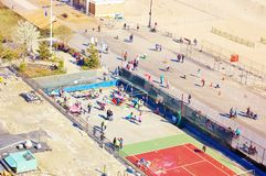 Coney island brooklyn new york air view  panorama Royalty Free Stock Images