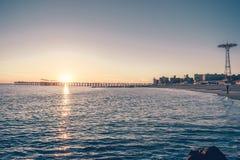 Coney Island en la puesta del sol Imágenes de archivo libres de regalías