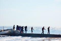Coney island  families  visitors  oceanview site Stock Image