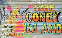 Coney Island Graffiti. Save Coney Island graffiti in Coney Island, New York City. The area is facing renewal that will alter the historic structures of the area Stock Photo