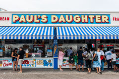 Coney Island landmark food concession on boardwalk in Brooklyn Stock Image