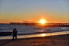 Coney Island New York  Offshore Pier Sunset Stock Image