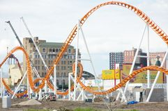 Coney island,new york. New roller -coaster construction nearby Atlantic ocean  in New York  soon will  be ready to meet bravest one, the historic  building Stock Photos