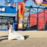 Coney island new york wedding photo session Royalty Free Stock Images