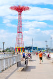 The Coney Island Pier and the Parachute Jump tower in Brooklyn, Royalty Free Stock Image