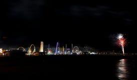 Coney Island plaży fajerwerki Obrazy Stock