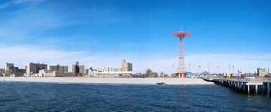 Coney Island strandpanorama, Brooklyn, New York City Fotografering för Bildbyråer