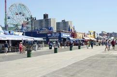 Coney Island strandpromenad Royaltyfri Fotografi