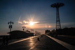 Coney Island strandpromenad Arkivbilder