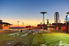 Coney Island strandpromenad - Brooklyn, New York Fotografering för Bildbyråer