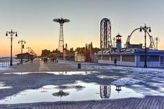 Coney Island strandpromenad - Brooklyn, New York Arkivbild