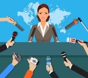 Conférence de presse, actualités vivantes du monde TV, entrevue illustration stock