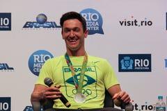 Conférence de presse brésilienne de gagnants de la médaille de gymnastes Images stock