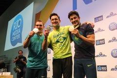 Conférence de presse brésilienne de gagnants de la médaille de gymnastes Photographie stock libre de droits