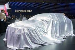 Conférence de presse de Mercedes-Benz à debut voiture photos libres de droits