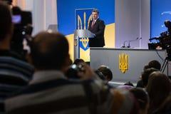 Conférence de presse du président de l'Ukraine Petro Poroshenko Photographie stock