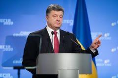 Conférence de presse du président de l'Ukraine Petro Poroshenko Image libre de droits