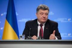 Conférence de presse du président de l'Ukraine Petro Poroshenko Images libres de droits