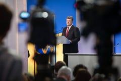 Conférence de presse du président de l'Ukraine Petro Poroshenko Photo stock