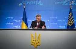 Conférence de presse du président de l'Ukraine Petro Poroshenko Images stock