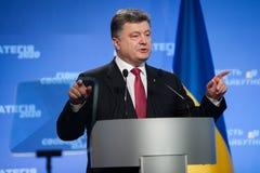 Conférence de presse du président de l'Ukraine Petro Poroshenko Image stock