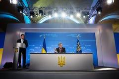 Conférence de presse du président de l'Ukraine Petro Poroshenko Photos stock