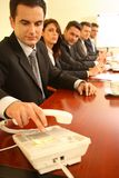 Conférence téléphonique.   Photos stock