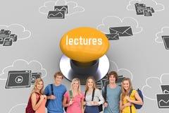 Conférences contre le bouton poussoir jaune photographie stock