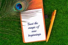 Confíe en la magia de nuevos principios imágenes de archivo libres de regalías