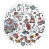 Confecção de malhas do inverno da garatuja Composição do círculo colorido ilustração royalty free