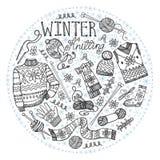Confecção de malhas do inverno da garatuja Composição do círculo preto ilustração stock