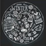 Confecção de malhas do inverno da garatuja Composição do círculo quadro ilustração do vetor