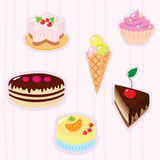 Confection background. With sweets, sponge-cake, tart, ice-cream, cake, souffl Stock Photography