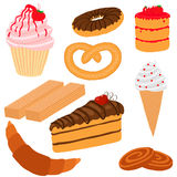 Confection. Dessert, pastries. objects on white background vector illustration