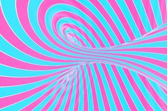 Confection festive pink and blue spiral tunnel. Striped twisted lollipop optical illusion. Abstract background. 3D render. Sweet candy caramel wallpaper royalty free illustration