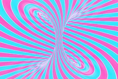 Confection festive pink and blue spiral tunnel. Striped twisted lollipop optical illusion. Abstract background. 3D render. Sweet candy caramel wallpaper vector illustration