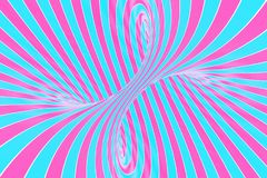 Confection festive pink and blue spiral tunnel. Striped twisted lollipop optical illusion. Abstract background. 3D render. Sweet candy caramel wallpaper stock illustration