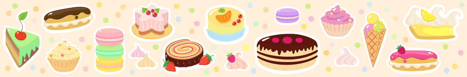 Confection  horizontal background. With different cakes, tartes, macarons, ice-cream and roulade Stock Image
