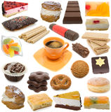 Confectionary collection. Isolated on white background (assortment sweetness, baking Stock Image