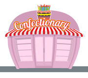 Confectionary shop. Sweets shop. Signage celebratory cake. Fun s Royalty Free Stock Photography