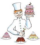 The confectioner. With different cakes Stock Image
