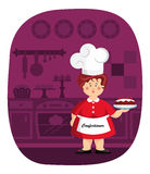 Confectioner. Cartoon confectioner holding a cake in her hand in the kitchen Stock Photo