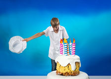 Confectioner with cake Stock Photo